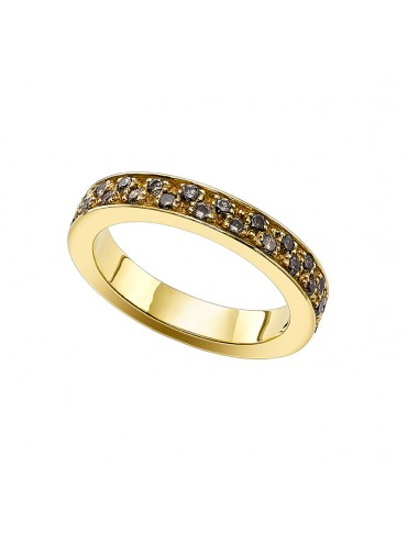 Anillo de oro amarillo y brillantes brown
