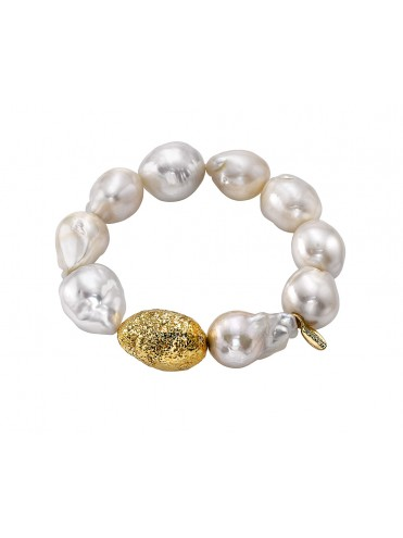 Baroque pearl and 18 kt gold bracelet