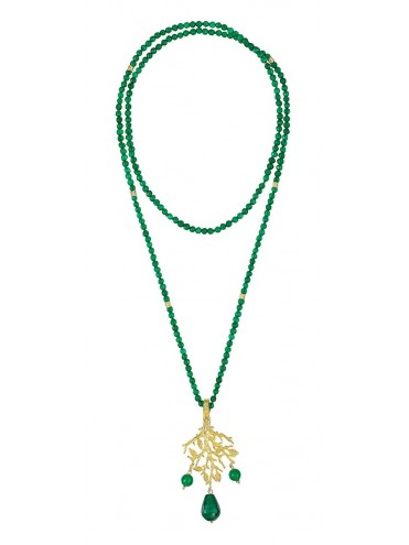 Long golden Formentor necklace with jade