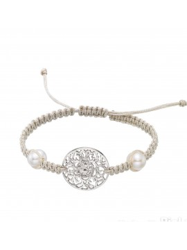 Sterling silver bracelet mounted with silk macrame