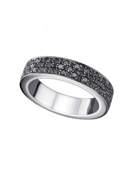 White gold black diamond ring