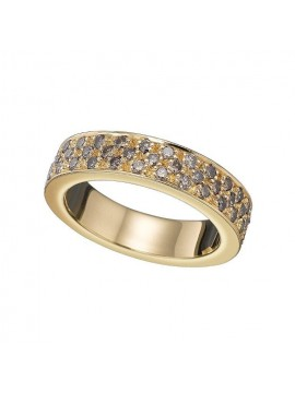 Anillo de oro amarillo y brillantes brown.