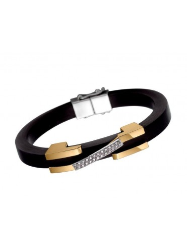 Rubber bracelet with white, and yellow gold with d