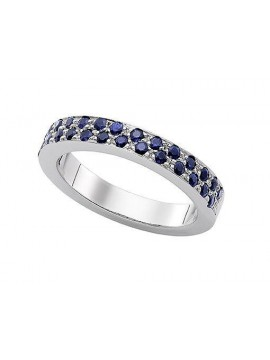 White gold ring with blue sapphires
