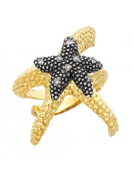 Gold plated sterling silver ring with diamonds