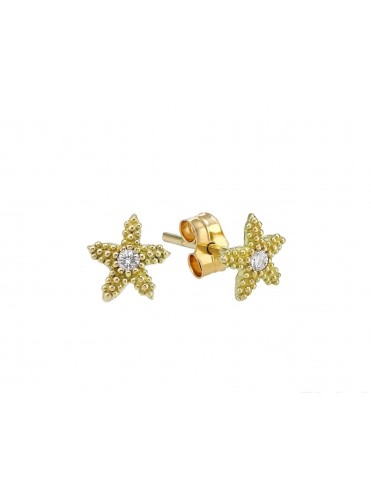 Yellow gold earrings with central diamond