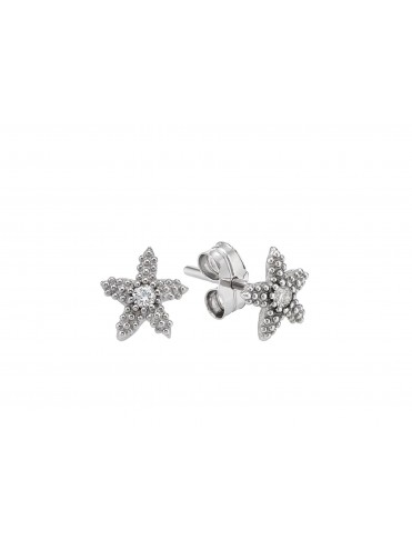 White gold earrings with central diamond