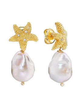 Yellow gold plated sterling silver earrings with diamonds and baroque pearls