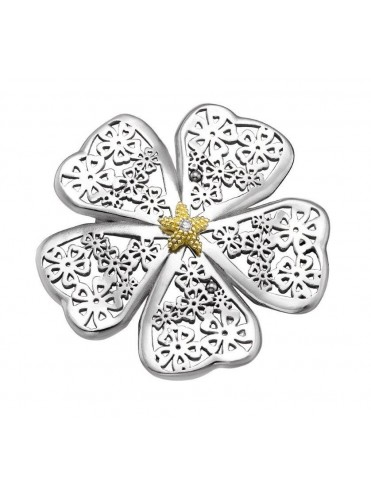Sterling silver, yellow gold diamond brooch