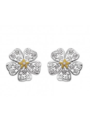 Sterling silver, yellow gold diamond earrings with clip style clasp