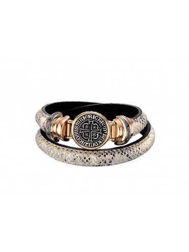 Sterling silver leather bracelet with black diamonds