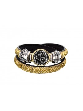Sterling silver, yellow gold leather bracelet with black diamonds