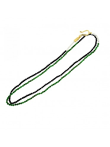 Sterling silver and gold long necklace with jade, white agate and onyx