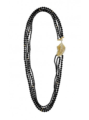 """Loop"" necklace in silver and onyx"