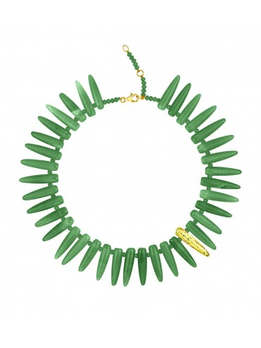 Green agate and gold necklace
