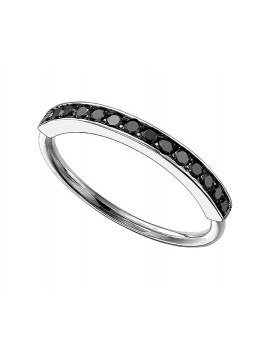 WHITE GOLD RING AND BLACK DIAMONDS