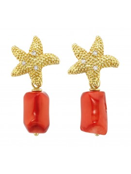 Yellow gold plated sterling silver earrings with diamonds and coral