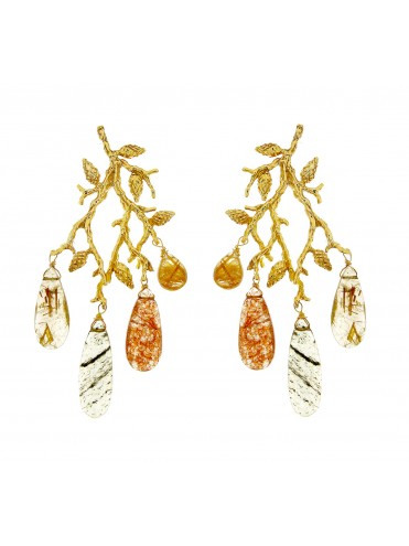 Gold Formentor earrings with quartz