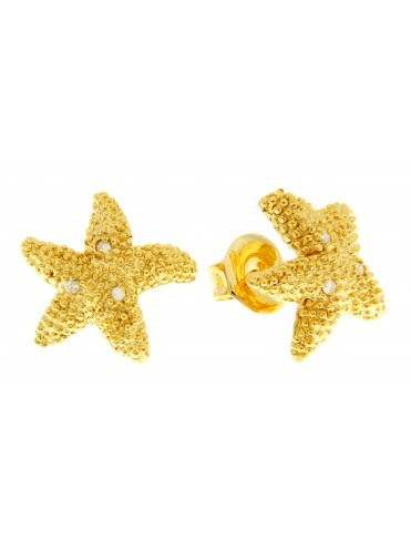 Gold plated sterling silver earrings with diamonds