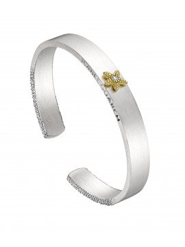 Sterling silver and yellow gold bracelet with a central diamond