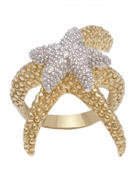 Double starfish ring in yellow and white gold