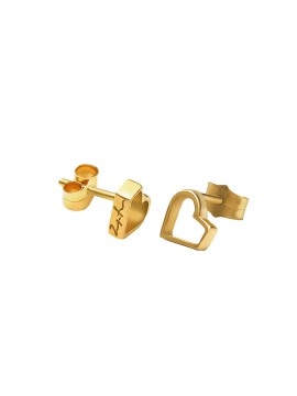 Yellow gold happy heart earrings