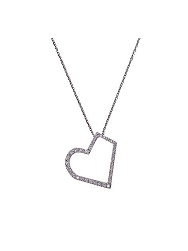 Heart pendant white gold and diamonds with white gold chain.