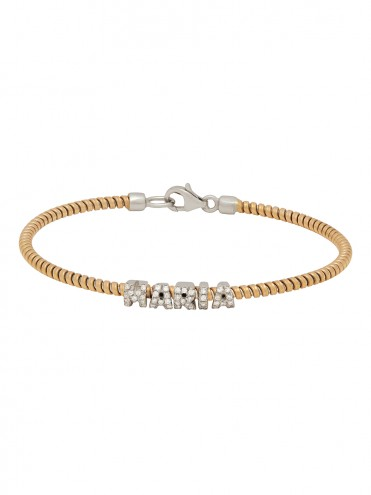 Bracelet with your name in yellow gold and diamonds