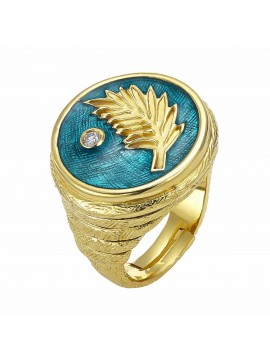 Sterling silver and gold enamel diamond ring