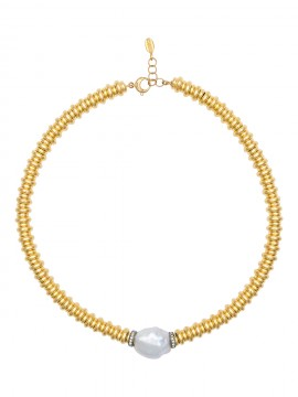 NECKLACE IN SILVER, SAPPHIRES AND CULTIVATED PEARL